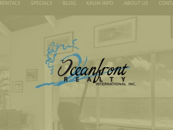 Oceanfront Realty Rentals on Kauai Website